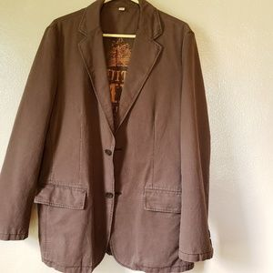 Brown cotton Mossimo suit type jacket size Large